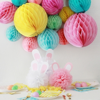 Tissue Paper Honeycomb Ball 8inch Tickled Pink