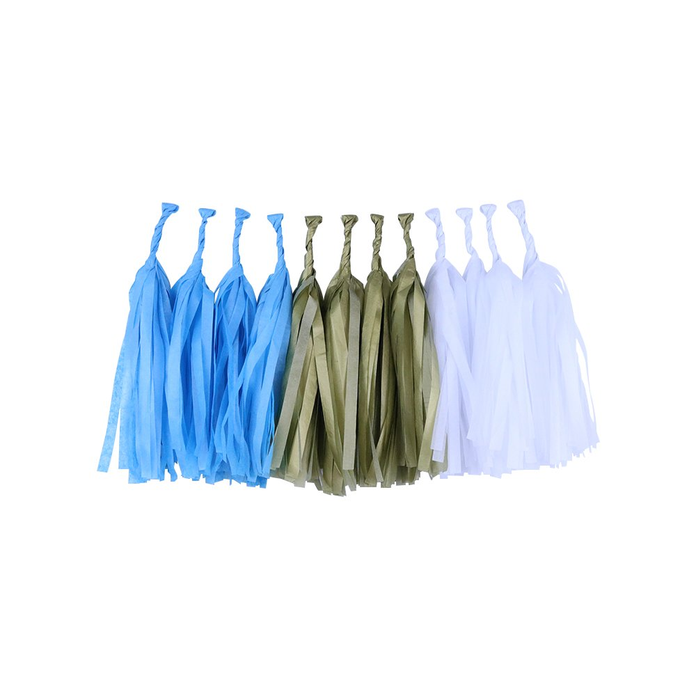 Tissue Paper Tassel Garland 12 Kit (Colors: Powder Blue, Gold, White)  - Premier