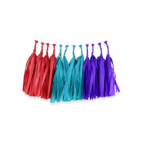 Tissue Paper Tassel Garland 12 Kit (Colors: Red, Teal, Royal Purple)  - Premier