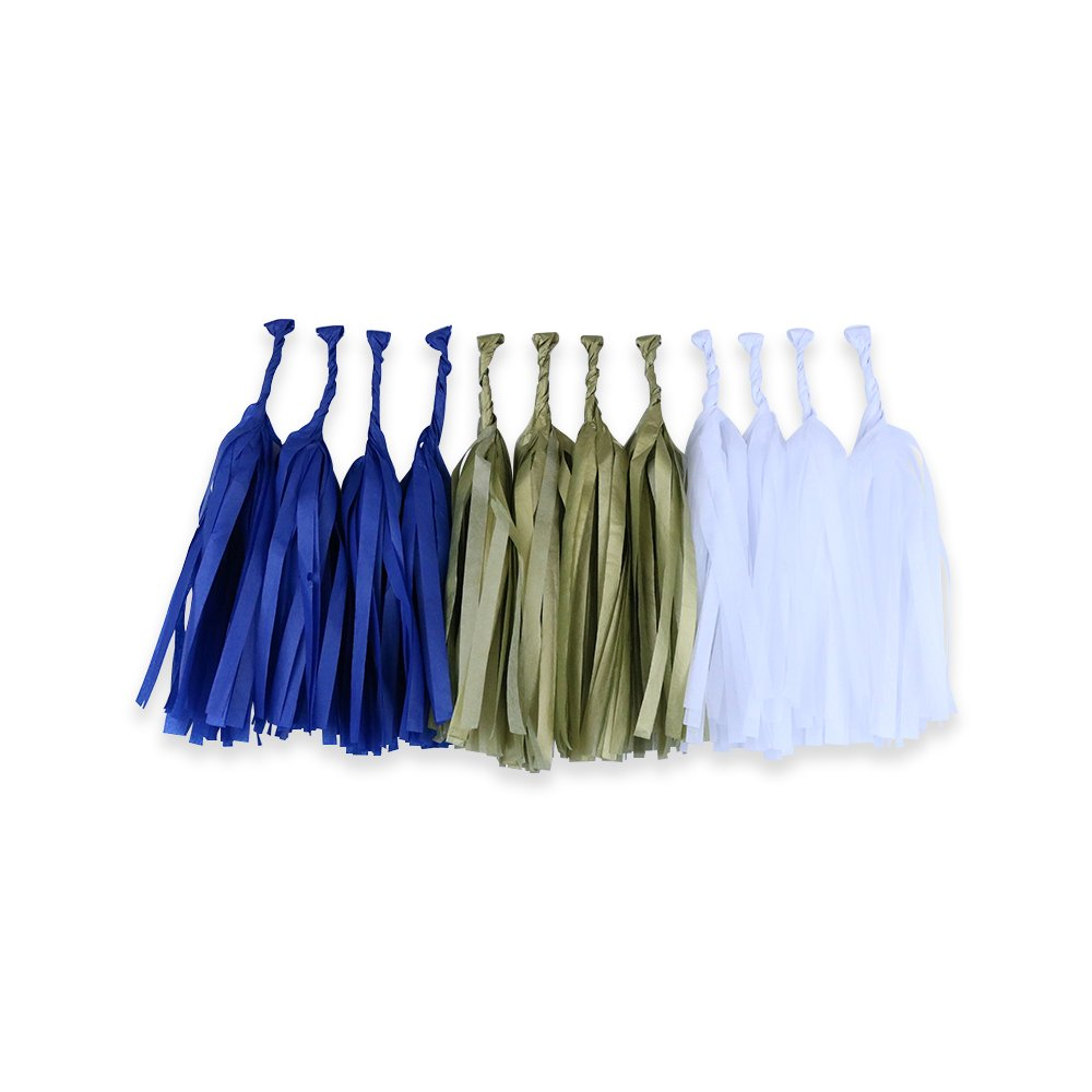 Tissue Paper Tassel Garland 12 Kit (Colors: Royal Blue, Gold, White)  - Premier