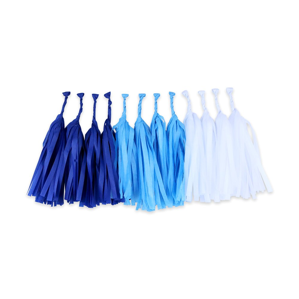 Tissue Paper Tassel Garland 12 Kit (Colors: Royal Blue, White, Powder Blue)  - Premier