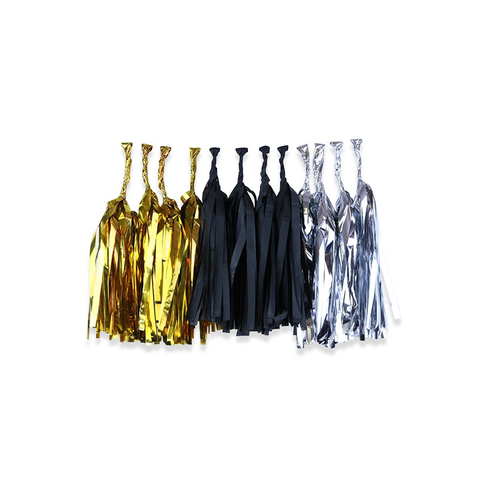 Tissue Paper Tassel Garland 12 Kit (Colors: Shiny Gold, Black, Shiny Silver)  - Premier
