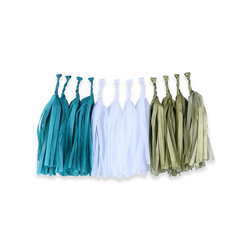 Tissue Paper Tassel Garland 12 Kit (Colors: Teal, White, Gold)  - Premier