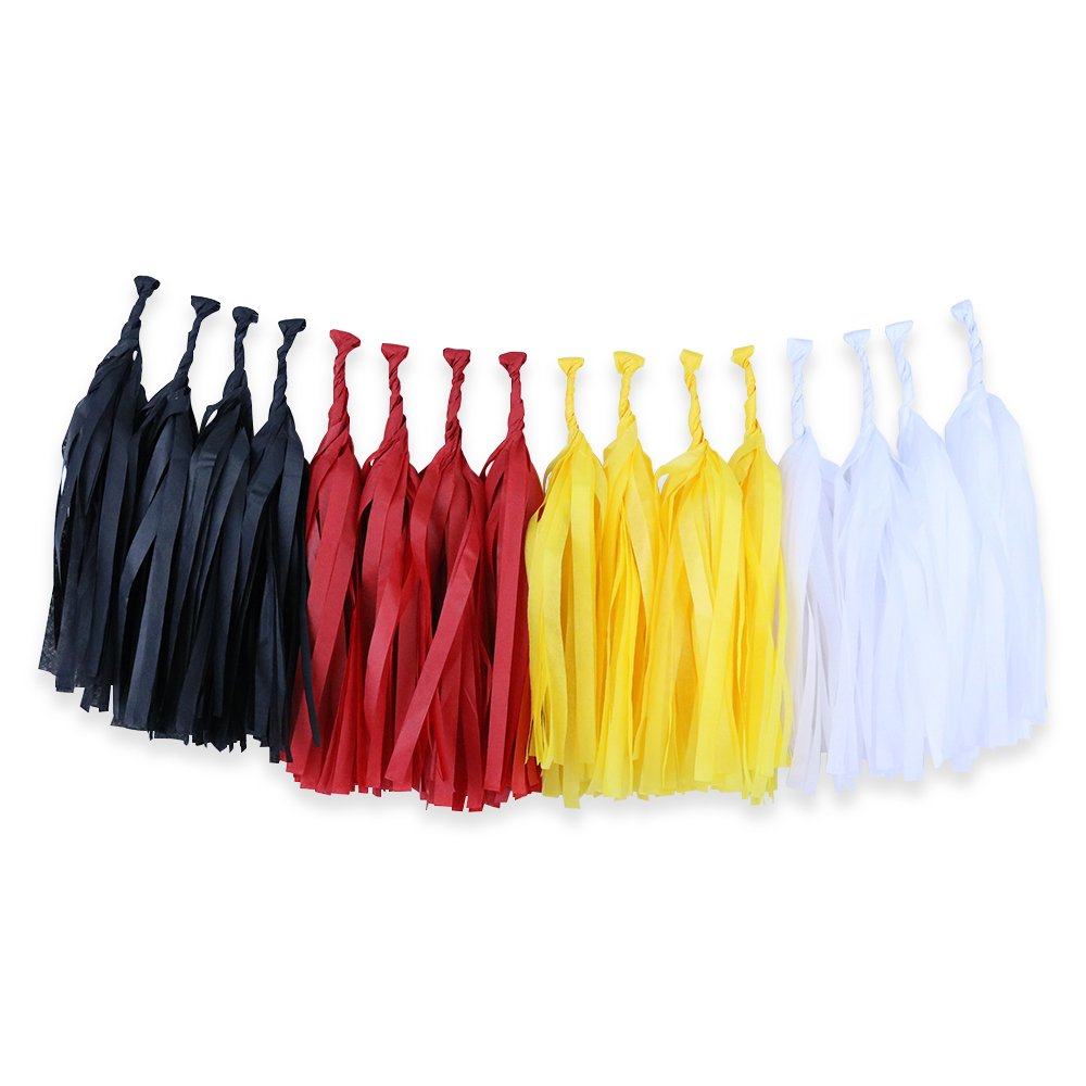 Tissue Paper Tassel Garland 16 Kit (Colors: Black, Red, Yellow, White)  - Premier