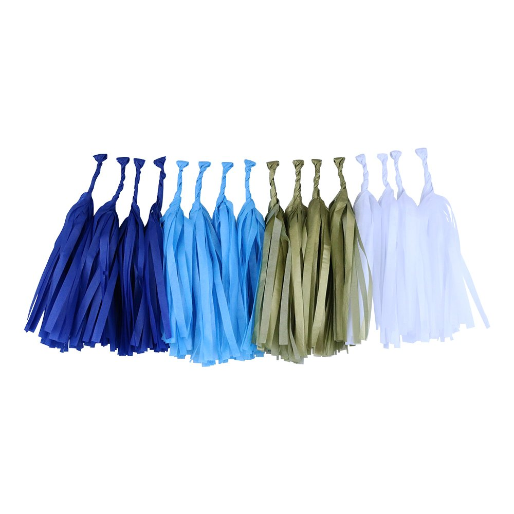 Tissue Paper Tassel Garland 16 Kit (Colors: Royal Blue, Gold, White, Powder Blue)  - Premier