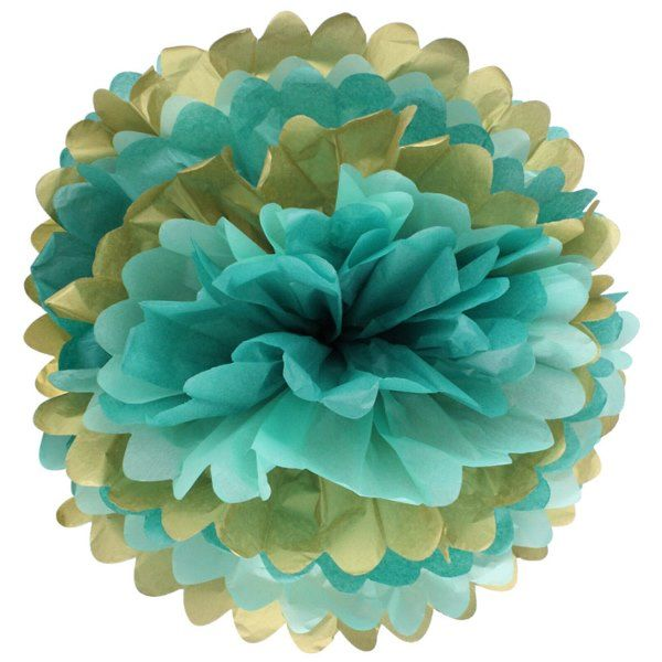 Tissue Pom 15in Gold Glam Blue
