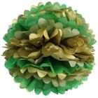 Tissue Pom 15in Gold Glam Green