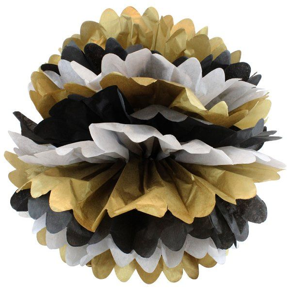 Tissue Pom 15in Gold Glam Grey