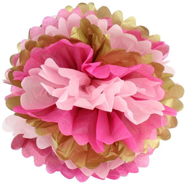 Tissue Pom 15in Gold Glam Pink
