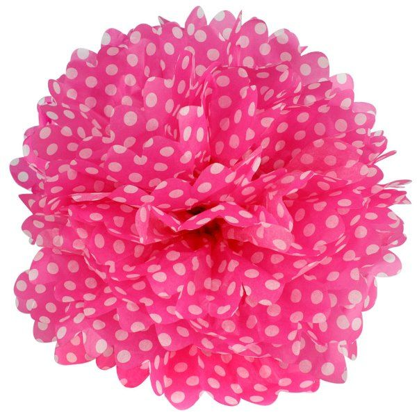 Tissue Pom 15in Polka Dot Fuchsia