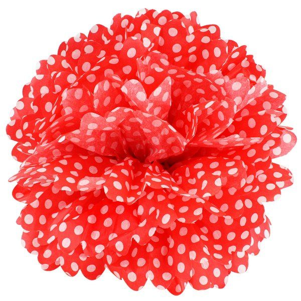Tissue Pom 15in Polka Dot Red
