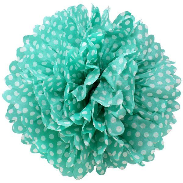 Tissue Pom 15in Polka Dot Teal