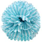 Tissue Pom 15in Striped Turquoise