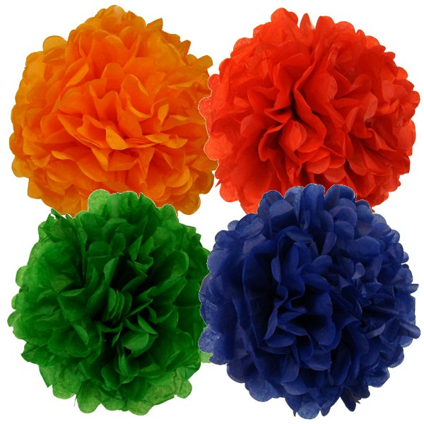 Tissue Paper Pom Poms 10inch 4 Assorted Color