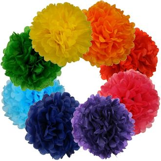 Tissue Paper Pom Poms 12inch 8 Assorted Color