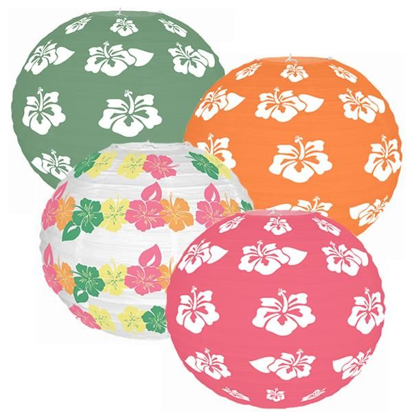 Tropical Hibiscus 4pcs 12inch Paper Lantern Kit