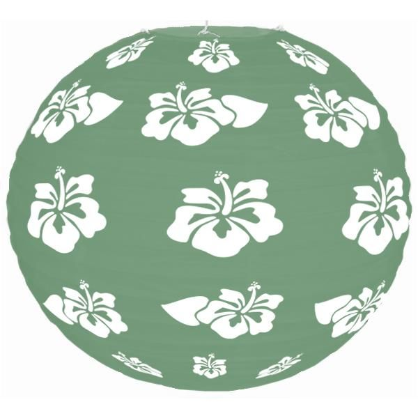 Tropical Hibiscus Green 12inch Paper Lantern