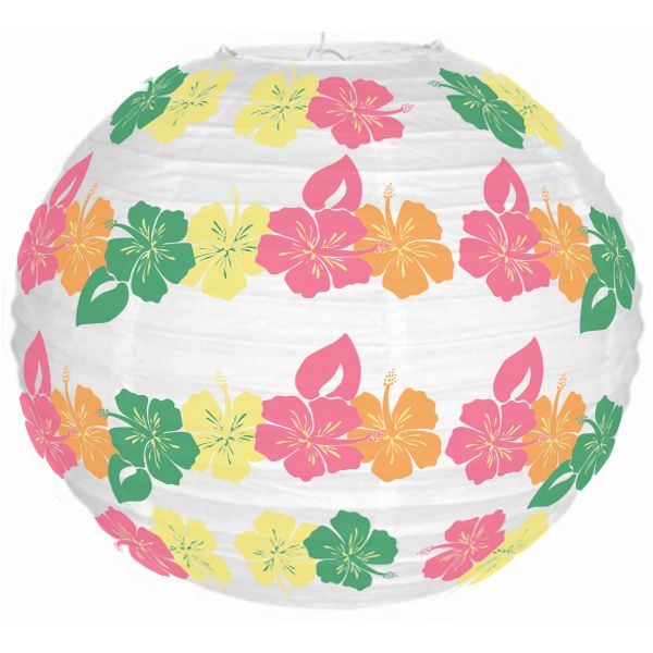 Tropical Hibiscus Lei 12inch Paper Lantern