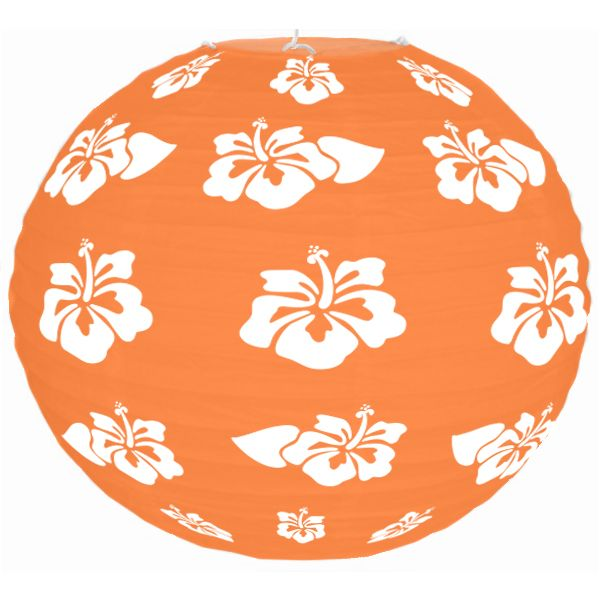Tropical Hibiscus Orange 12inch Paper Lantern