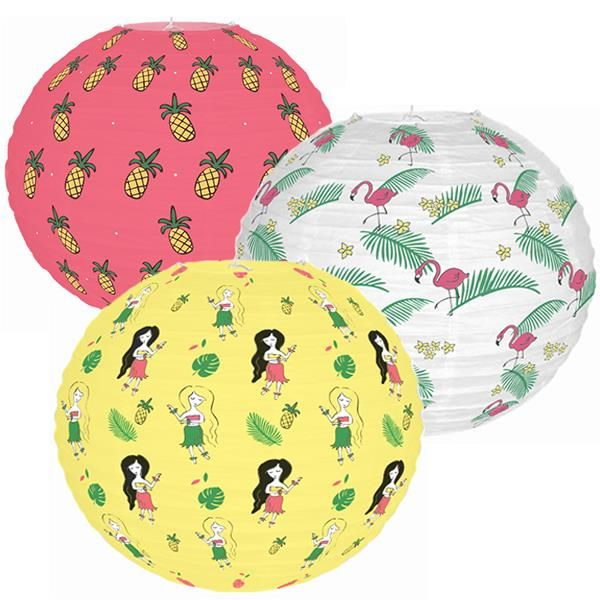 Tropical Luau 3pcs 12inch Paper Lantern Kit