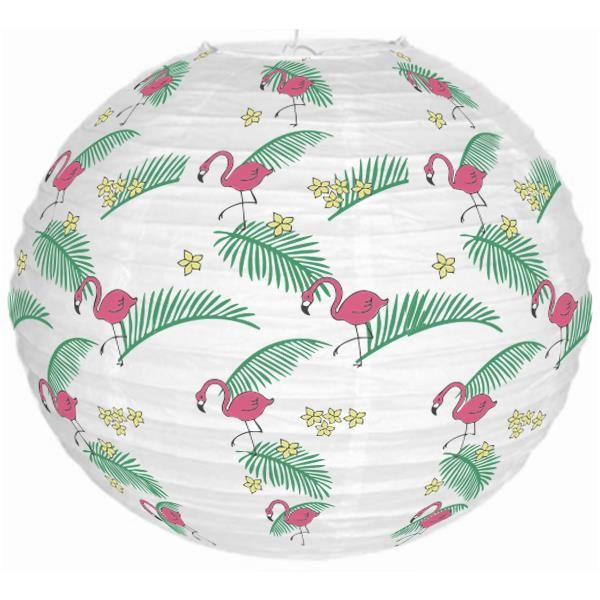 Tropical Luau Flamingos and Palm Fronds 12inch Paper Lantern