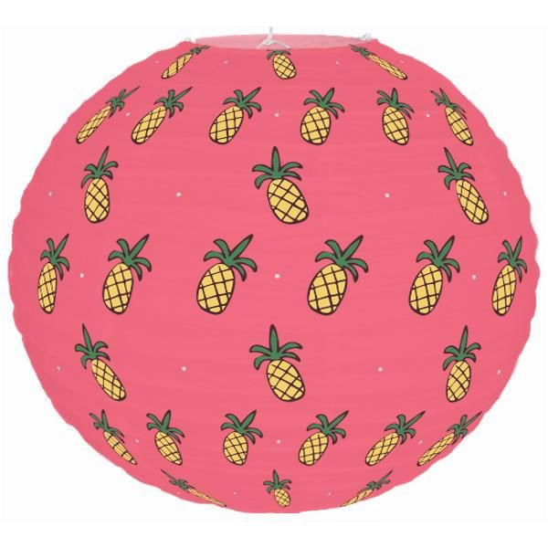 Tropical Luau Pineapple Pink 12inch Paper Lantern