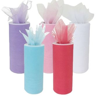 Tulle Fabric Roll 25-Yards Length x 6-Inch Width (Set of 5, Assorted #6) - Premier