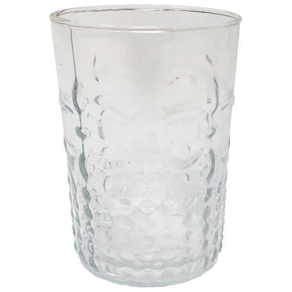Tumbler Drinking Glass Fluer De Lis Clear 9oz
