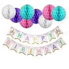 Unicorn Happy Birthday Hanging Decorating Kit 9pcs