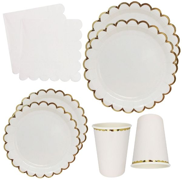 White Scallop Tableware Kit 44pcs - Premier