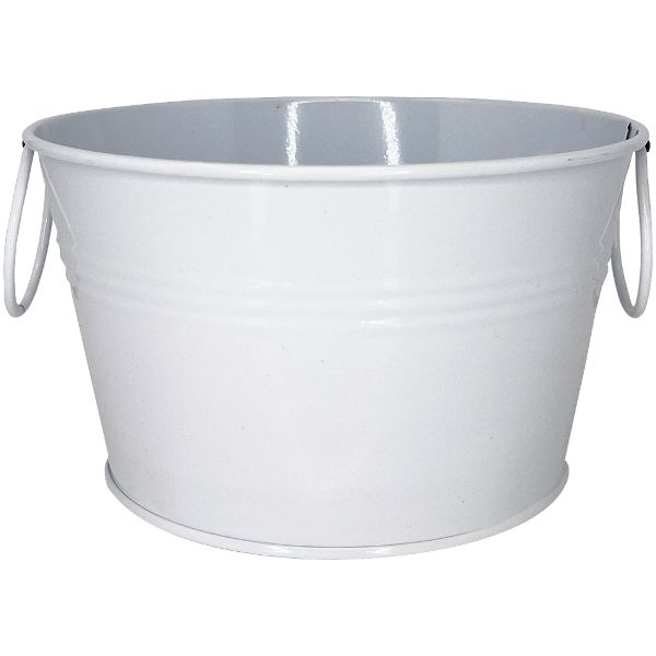 Wide Mouth Metal Favor Bucket 3.5in White