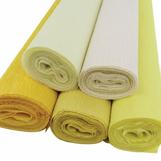 Yellow Assorted Crepe Paper Roll Package 5pcs