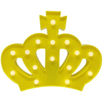 Yellow Crown 9in Marquee LED Battery Operated Light