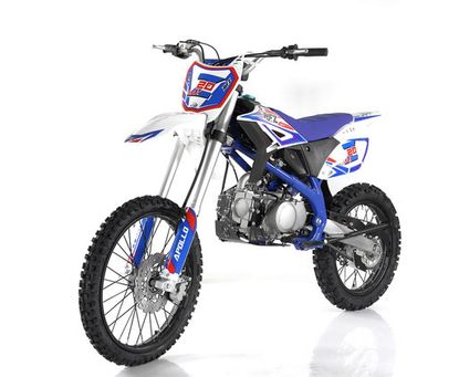 Apollo Full Size 125cc Dirt Bike.  Z20 XMAX 19 inch front tire, twin spar frame, inverted front forks Seat Height 34.5