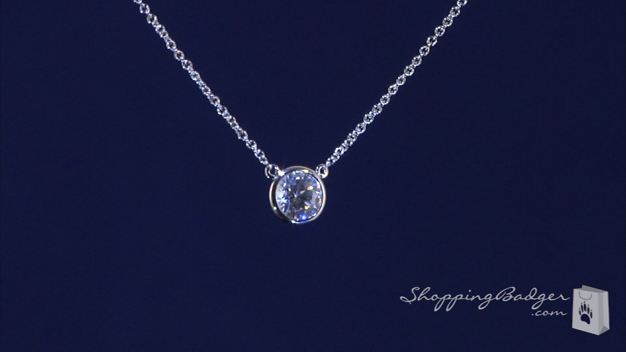 Bezel Set 7mm Diamond Cz Solitaire Necklace In Sterling