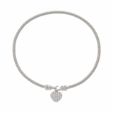 Cubic Zirconia Heart Drop Twisted Bangle
