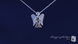 """CZ Angel Necklace in Sterling Silver, Adjustable 16""""-18"""""""