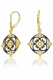 CZ Black Rhodium and Gold Vermeil Deco Earrings