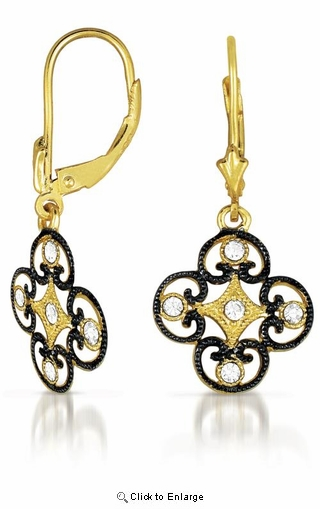 CZ Black Rhodium and Gold Vermeil Lace Deco Euro Earrings