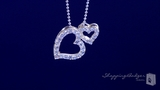 """CZ Double Open Floating Heart Necklace in Sterling Silver, 16"""" or 18"""""""