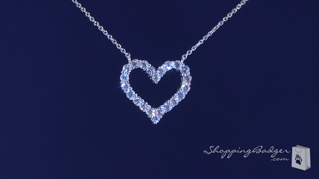 a0283b853d0 CZ Open Heart Necklace in Sterling Silver, Adjustable 16