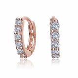 CZ Rose Gold Plated Sterling Silver Small Huggie Earrings