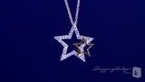 """CZ Star Necklace with Tiny Gold Star in Sterling Silver, Adjustable 16""""-18"""""""
