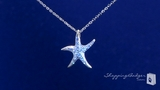 """CZ Starfish Pendant Necklace in Sterling Silver, Adjustable 16""""-18"""""""