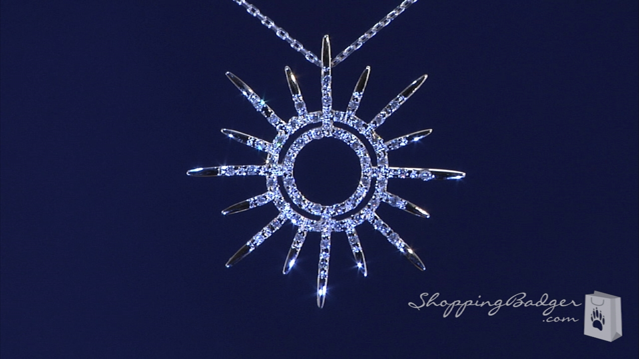Cz Sunburst Necklace In Sterling Silver 16 Quot 20 Quot Free