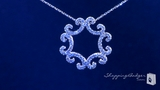 """CZ Swirl Pendant Necklace in Sterling Silver, Adjustable 16""""-18"""""""