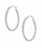 Elongated Oval Silver and CZ Earrings