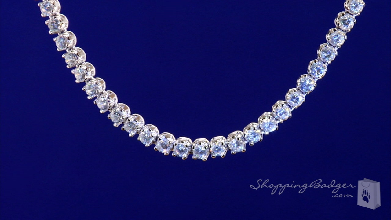 Fancy Four Prong 4mm Round Cut Cz Classic Tennis Necklace