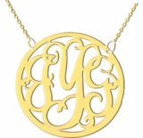 Framed Script Three Initial Silver Monogram Necklace, 1.25 inch