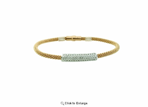 Gold Vermeil Bangle with Silver and CZ Slide